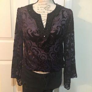 Rhinestone Alfani Purple Swirl Long Sleeve Top